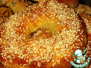 Here such turned out bagels with sesame seeds.