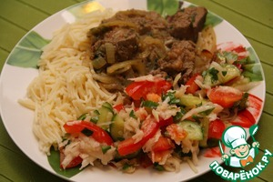 I served with Captain (liver stew Spanish) and noodles.