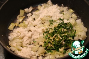 Add remaining half of garlic mixed with parsley, and a tablespoon of flour. Fry.
