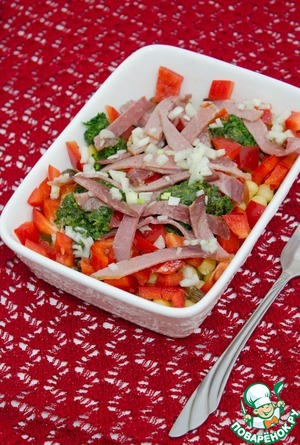 Evenly pour dressing on salad, mix and serve.  Have a nice appetite!