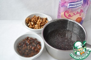 """The raisins soak poppy put to simmer for 30 minutes, then salt through a sieve and crush with a pestle. I use sugar """"Mistral"""" brown, as it improves significantly the quality of the pastries."""