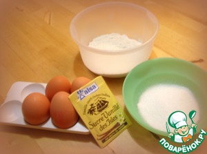 "Prepare the ingredients for the biscuit ""genuis"". Flour, sugar, eggs."
