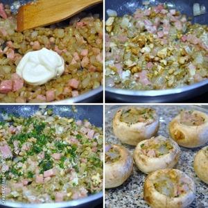 Добавляю сметану, солю. Кладу орешки. Немного орехов оставьте на украшение готовой закуски. Немного укропа, и готовой начинкой фарширую шляпки грибов.