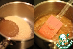 Cook ser. In a saucepan pour the sugar and add 20ml of water. Cook thick syrup, about 7 minutes.