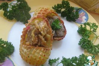 Рецепт: Лапти из картофеля с грибами и баклажанами