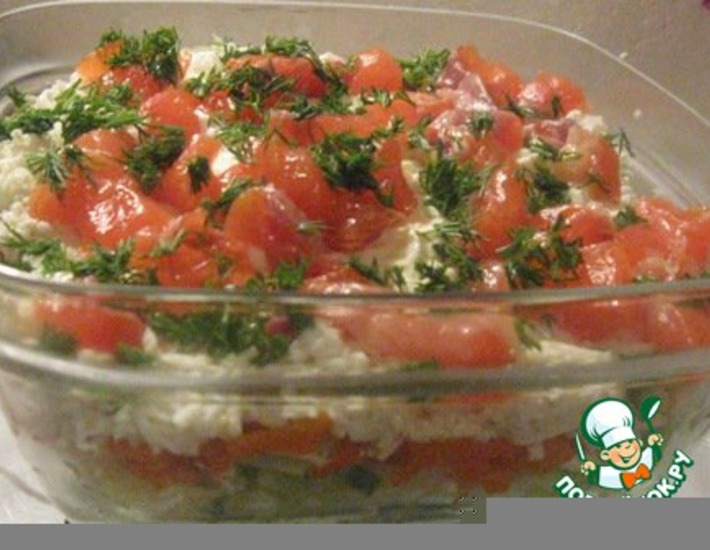 Рецепт: Салат с семгой и огурцом Праздник