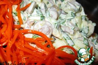 Рецепт: Салат с куриными сердечками Френч