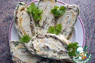 Рецепт: Праздничный рулет из лаваша с грибами