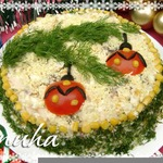 Праздничный новогодний салат Еловая веточка