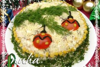 Рецепт: Праздничный новогодний салат Еловая веточка