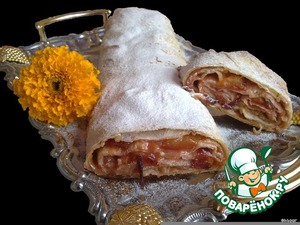 Plum strudel in pita bread