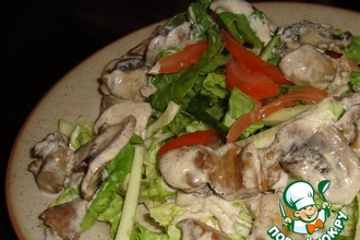 Рецепт: Теплый салат с печенью и шампиньонами