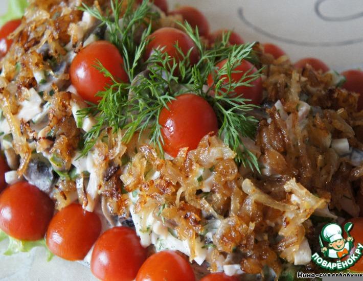 Рецепт: Салат с шампиньонами и ветчиной