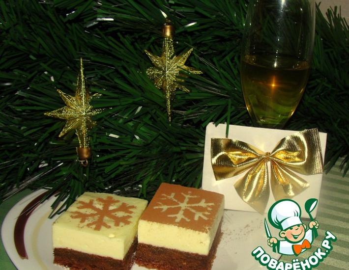 Рецепт: Новогоднее пирожное-суфле Снежинка