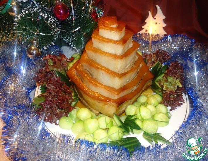 Рецепт: Пирамида из свиной грудинки с рисом и овощами