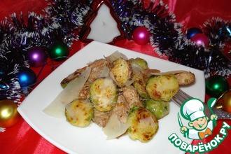 Рецепт: Салат из брюссельской капусты с курицей