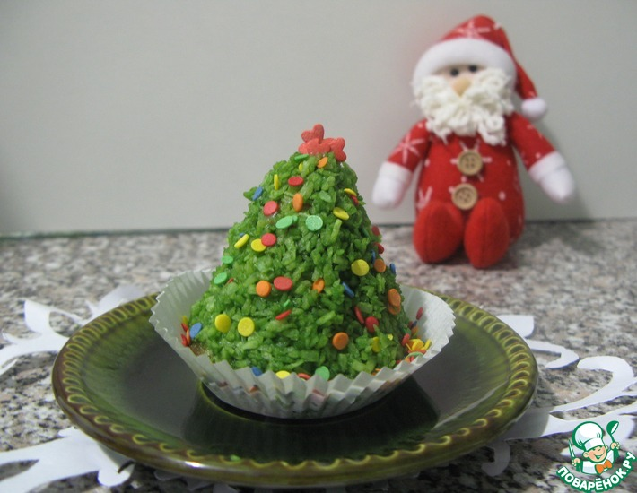 Рецепт: Пирожное Рождественская ёлочка