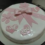 Простой торт с мастикой I love you