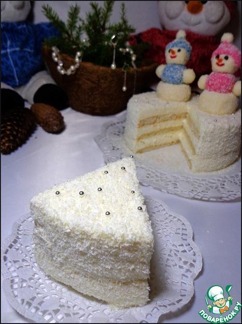 """Торт кокосовый """"Новогодний"""" – кулинарный рецепт"""