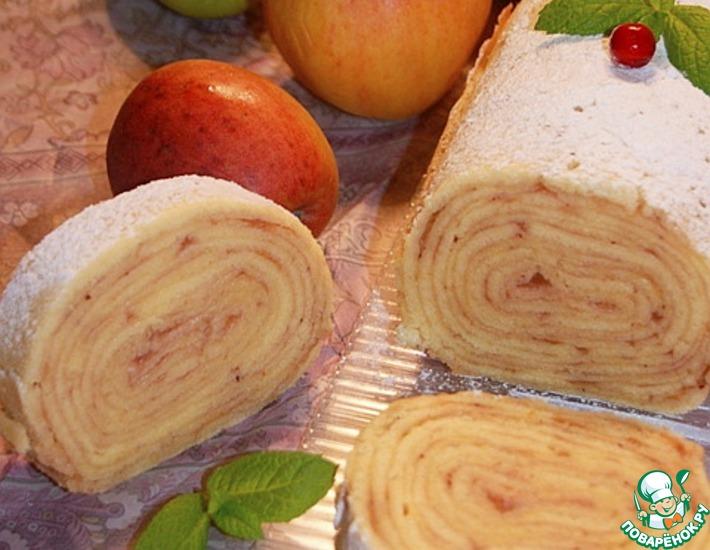 Рецепт: Рулет с яблоками Боло-де-Роло
