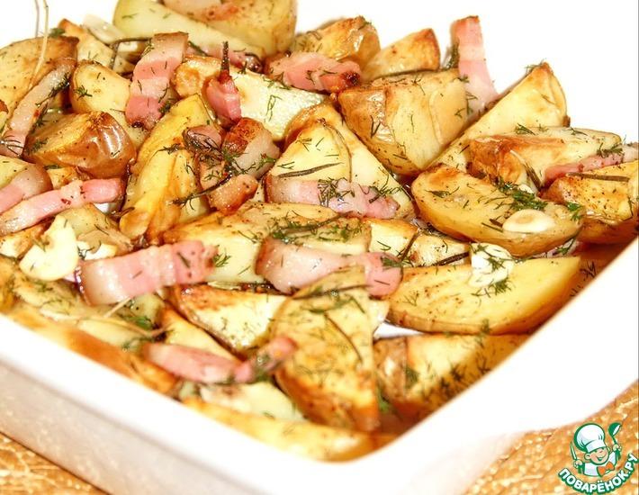 Рецепт: Золотистый запеченный картофель с мясом