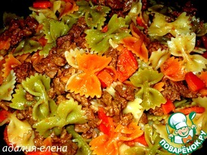 During this time, boil pasta (I had Farfalle tricolor) and add to stews. Stir and remove from heat.