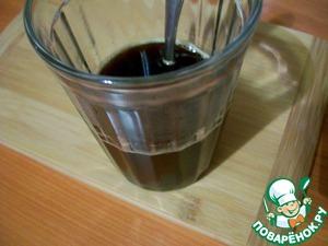 Кофе (крепость на Ваш вкус) растворить в кипятке, чтобы получилось 50 мл.