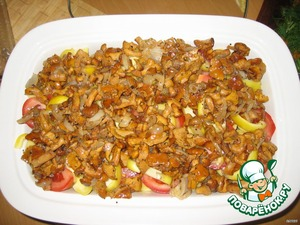 for potatoes put the chopped tomato and peppers, then the mushrooms (lightly fried in vegetable oil)