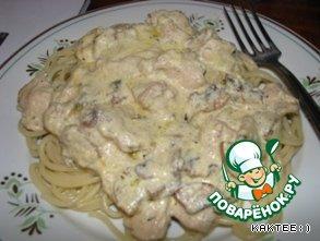 Spaghetti on a plate. Milestone fillet with mushrooms:)   Bon Appetit:)))