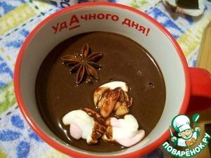 Горячий шоколад разлить по чашкам, добавить зефир и можно наслаждаться!