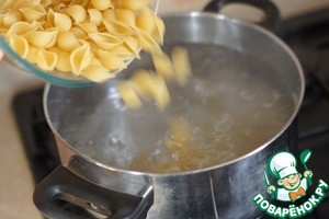 Meanwhile, in boiling salted water, add pasta. Very important - do NOT OVERCOOK!