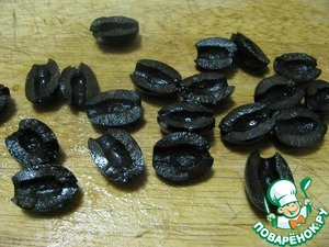 4. Olives if large, cut in half, smaller ones left whole.