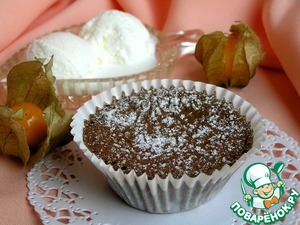 Bake at 180*C for 9 minutes. ***When removed from the oven, the middle should tremble. Will not overdo!*** The dessert is ready, carefully remove from the molds, sprinkle with powdered sugar and serve with a scoop of ice cream.