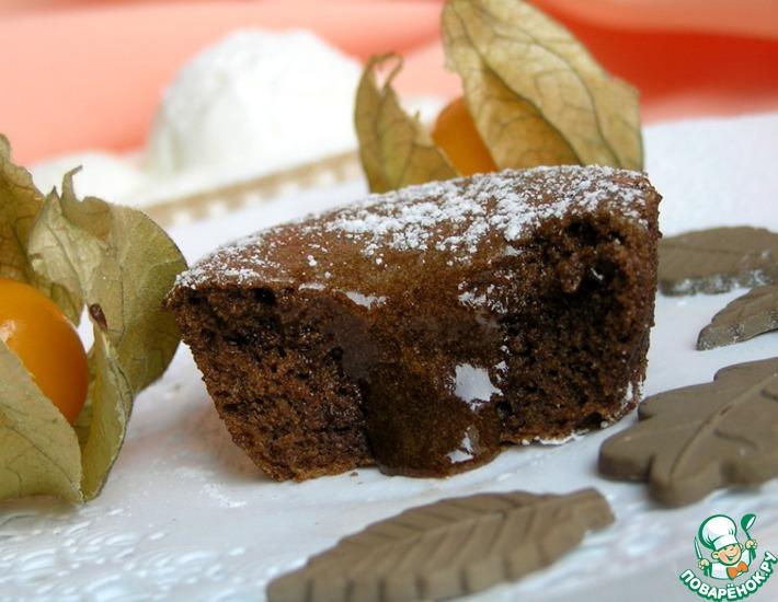 Рецепт: Шоколад в шоколаде с ванильным мороженым