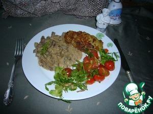 У меня мясо подано с картофельными оладьями, помидорами черри и салатом руккола.   Получилось изумительно вкусное нежное блюдо. Угощайтесь!