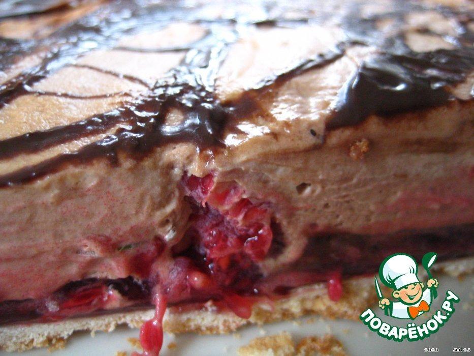Малиновый   торт-десерт   с   шоколадным   кремом
