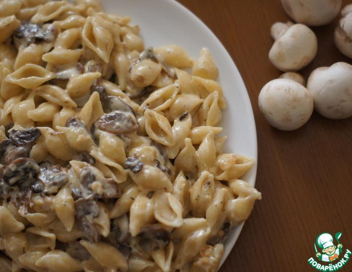 Рецепт: Паста с шампиньонами в сливочном соусе