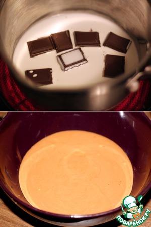 The third cream: melt chocolate with cream, cool and mix with mascarpone cream.