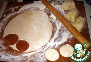 Roll the dough in a thin layer with rolling pin.  Cut out circles with a glass.