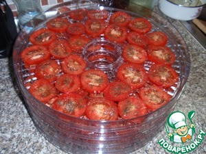 Tomatoes cut into rings with a thickness of 5-7 mm, arrange on shelves of the dryer for vegetables, season with salt and pepper and put to dry for 3-5 hours