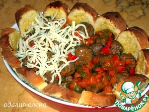 Now to put on the bread the meatballs with sauce and sprinkle cheese on top. Bake at 190 degrees for 10-15 min.