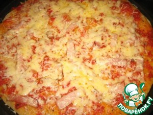 Bake at 180 degrees for about 15 minutes, then sprinkle with cheese and put again in the oven to melt the cheese.