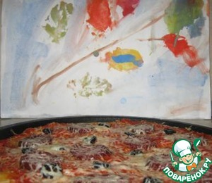 The last two pictures our pizza on the autumn background illustration made by my five year old daughter.