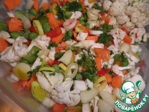 Next, make a vegetable filling to your taste, there can be any vegetables. All the vegetables that you have, grind and stir, add salt.
