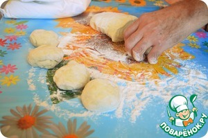 Take the dough and divide into pieces.