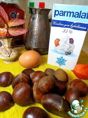 Prepare foods that we need. Pre-boil a strong Cup of coffee. Wash chestnuts, make a cross on each incision.