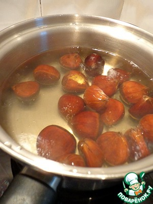 Drop the chestnuts into boiling water and cook for approximately 20 -25 minutes.
