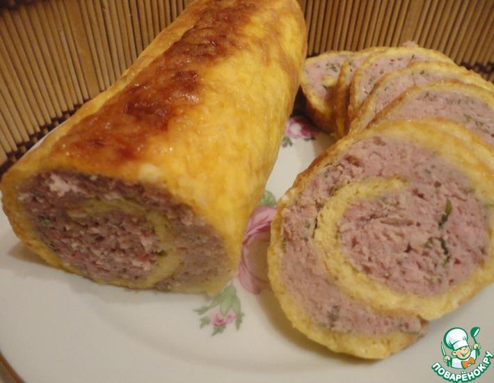 Рецепт: Сырно-мясной рулет