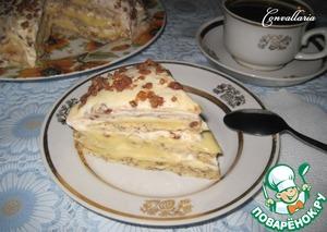 На фото торт еще не успел пропитаться. Все-таки ему надо в холодильнике постоять 3-4 часа, чтобы крем «схватился».