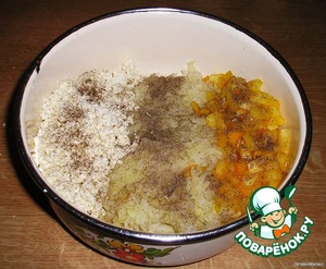 Mix cheese, potatoes, pepper and spices.